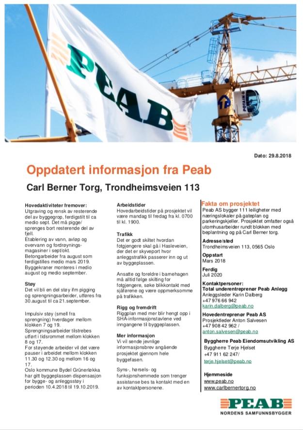Oppdatert informasjon fra Peab