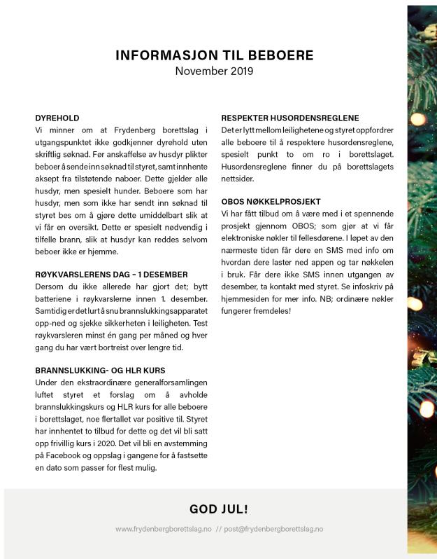 Informasjonsskriv, november 20193