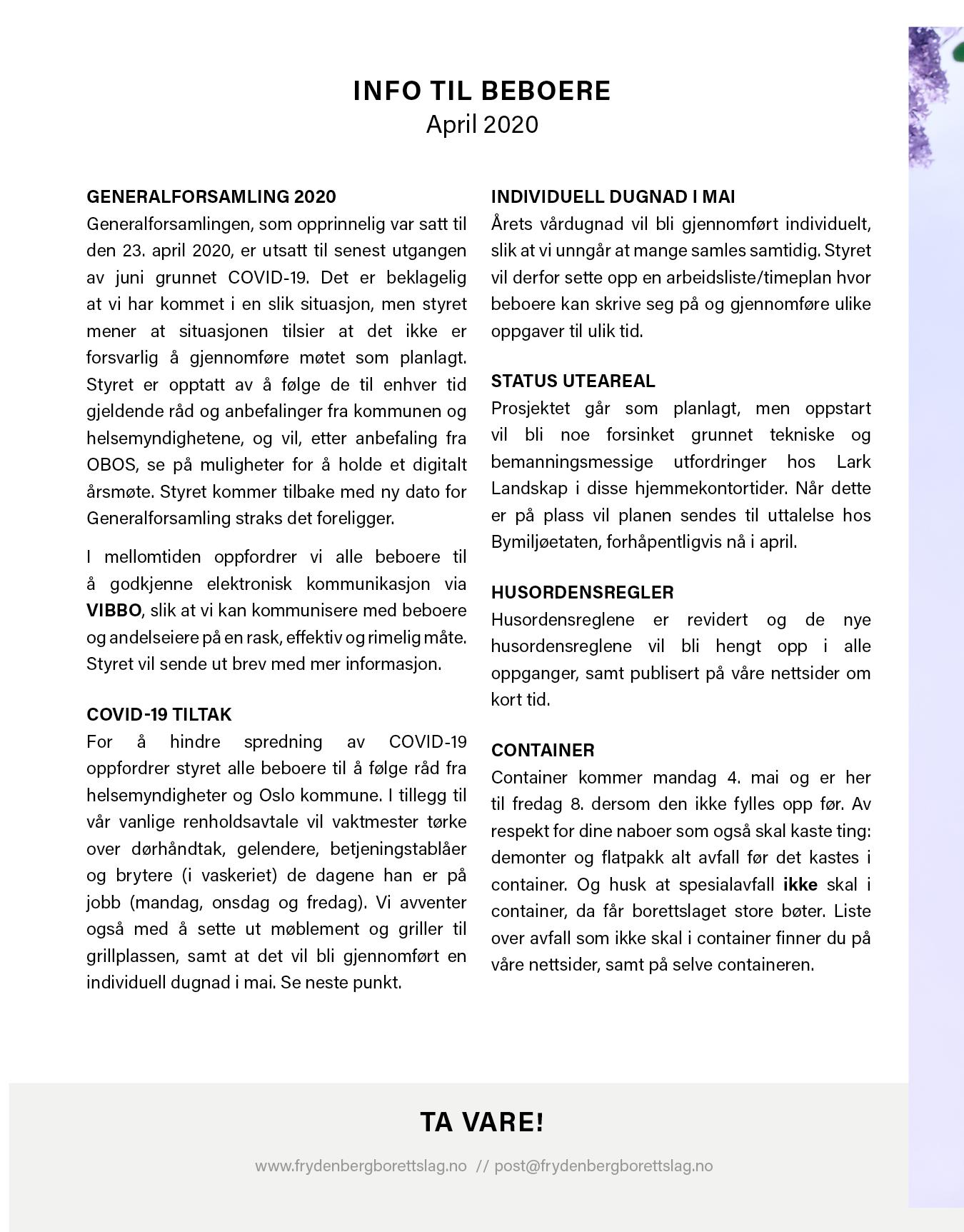 Informasjonsskriv, april 2020 1 side