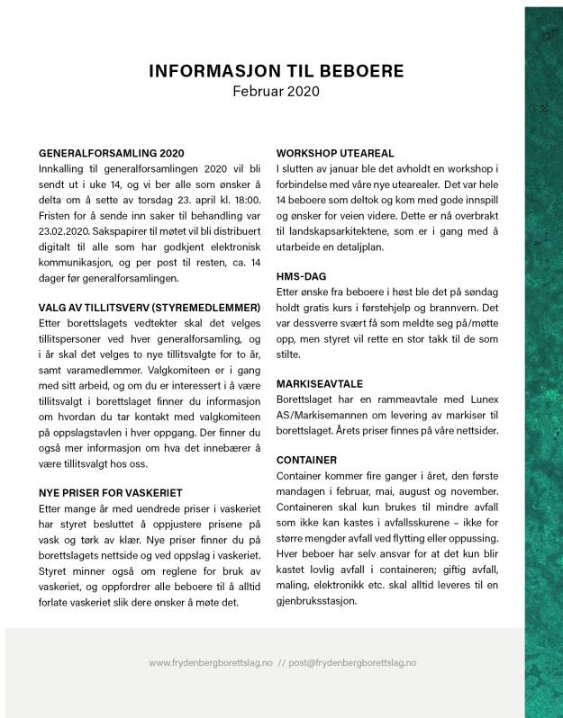 Informasjonsskriv, februar 2020